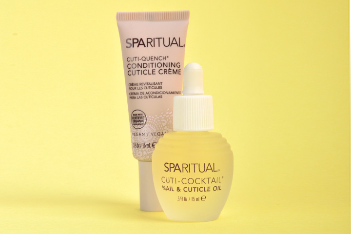 """<p>SpaRitual&rsquo;s Cuti-Quench conditions dehydrated cuticles and brittle nails, attracting and retaining moisture for healthier cuticles and nails. Cuti-Cocktail penetrates the nail matrix to condition cuticles and promote healthy nail growth. Formulated with a blend of natural oils including evening primrose, grapeseed oils and aloe extract, it&rsquo;s also scented with aromatic extracts of ginger and Fuji apple.</p> <p><a href=""""http://www.sparitual.com"""">www.sparitual.com</a></p>"""