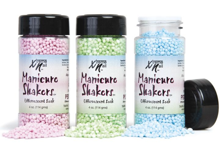 """<p>Shake up your average manicure with Manicure Shakers from <a href=""""http://www.americanails.com/"""">Xtreme Nail</a>. Shake in a little for a touch of fizz or shake in a lot for a refreshing effervescent experience. Softens the cuticles, whitens the nails, and releases an irresistible scent-sation. Available in Pink Bubblegum, Green Apple, and Funky Fresh.</p>"""