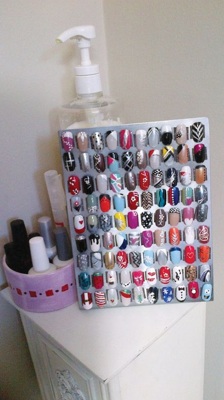 <p><strong>Make-Up Artistry, Waterloo, Ontario, Canada</strong></p> <p>&ldquo;I have a small metal stand the size of a picture frame that has nail art samples on magnets. While shopping, I saw this metal stand and it came with magnets for displaying pictures. I thought maybe I could buy smaller magnets the size of my sample nails, and stick them onto the metal stand. That way, as I come up with new sample designs, the display can easily be changed out.&rdquo; <em>&mdash; Meg Scheeringa</em></p>
