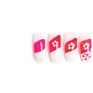 Add small white dots below the flower. Add varying sizes of pink dots on the free edge.