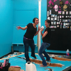 Christina Litster (right) and Andrea Conde knocked down a wall to expand their new salon.