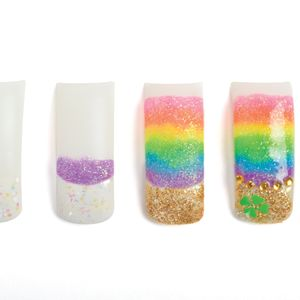 1. Create the tip using sparkly white acrylic.