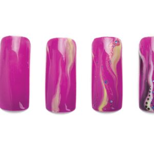 1. Apply a layer of a highly pigmented purple gel-polish. Do not cure.