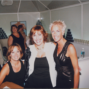 That's me (left), Jacquie Correa, and Jan Arnold relaxing at the Spa afterparty.