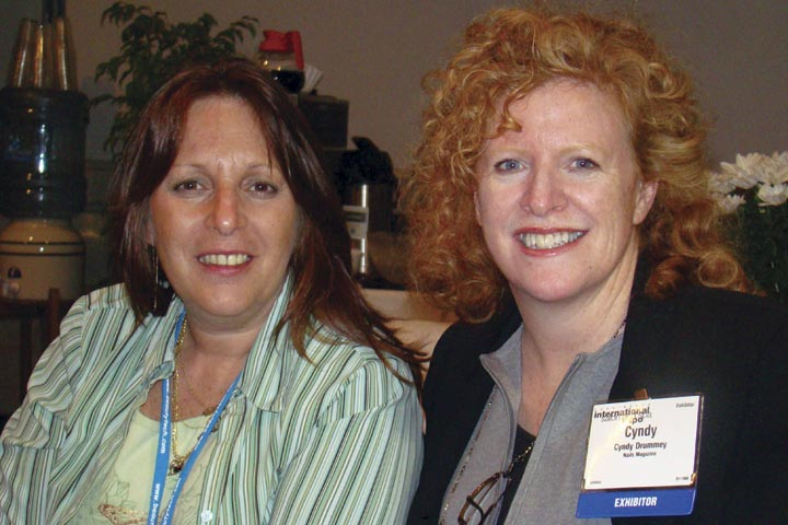 <p>What do we have here? NAILS publisher Cyndy Drummey (right) caught up with BeautyTech.com webmaster and frequent NAILS contributor Debbie Doerrlamm in the press room.</p>