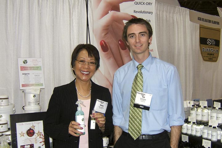 <p>President of VB Cosmetics, Dr. Vivian Valenty earned her chemistry doctorate from the University of Pennsylvania, and creates all of the formulas for products at VB Cosmetics. Here she is with NAILS assistant editor Tim Crowley holding her newest, Be Silky Callus Sprays with Tea Tree Oil and Lemongrass.</p>