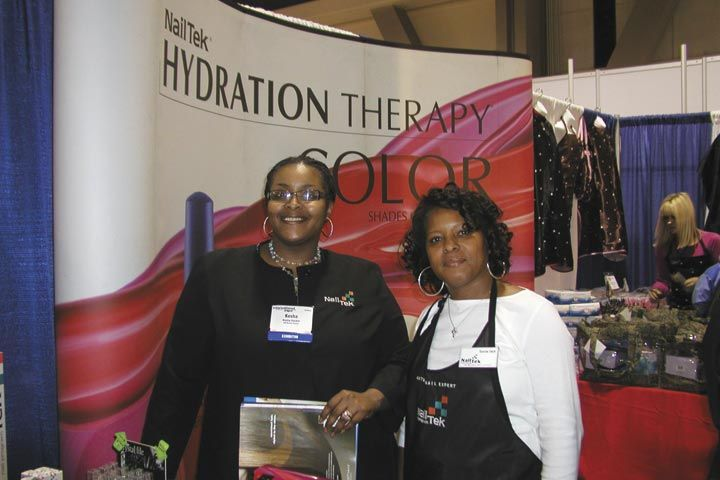 <p>Friends, salon owners, and Nail Tek educators Kesha Hackett (left) and SaVerne Smith, had fun attending the show.</p>