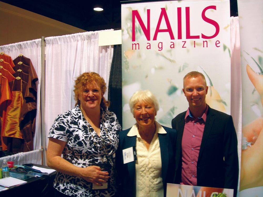 <p>NAILS publisher Cyndy Drummey (left) met up with Anette Claesson (center), a long-time friend who used to run a nail academy in Sweden and who now focuses her energy on Swedish nail magazine naglar i norden. To the right is Hakan Johansson, a sales manager at Filtronics.</p>