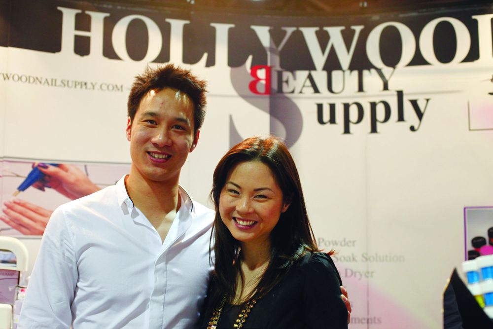 <p>Siblings Michael Han and Stephanie Cao greeted visitors at the family-owned Hollywood Beauty Supply booth.</p>