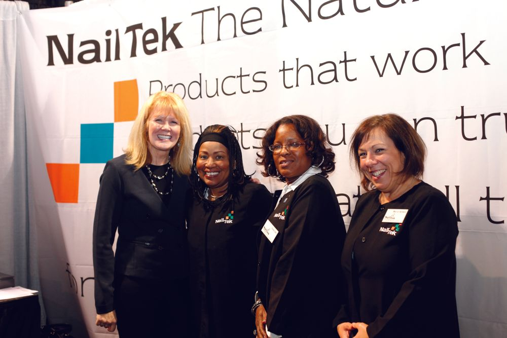 <p>Nail Tek&rsquo;s Peggy Bellafiore, Valerie Clark, Saverne Smith, and Mary Jo Zwirowski enjoyed the warmer weather that came along with a show hosted in Long Beach and promoted the company&rsquo;s Crystal File designs.</p>