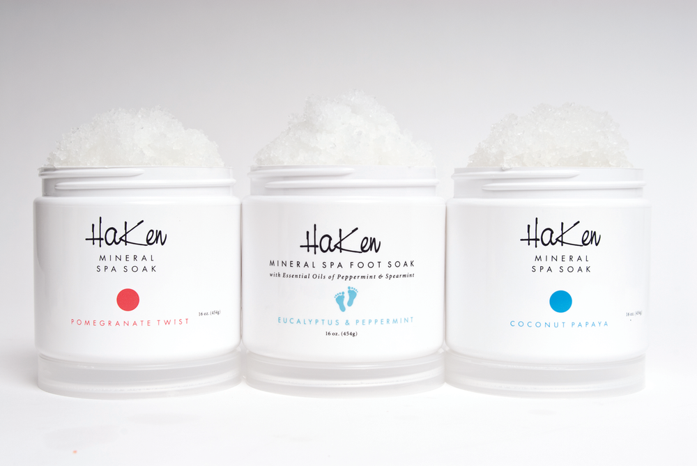 """<p><a href=""""http://www.hakenusa.com/"""">Haken</a> has soothing soaks for the spa and bath with therapeutic salts and moisturizing oils that will relax the muscles from the day&rsquo;s stress, release tension, and provide skin with moisturizing benefits. Drop a tablespoon of the soak into the spa or bath, allow a few moments for the product to dissolve, and then jump in and relax. Available in the scents Pomegranate Twist, Coconut Papaya, and Eucalyptus &amp; Peppermint.</p>"""