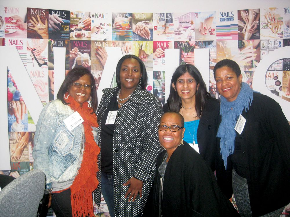 <p>Members of the newly revived African American Manicurists Association met with managing editor Sree Roy to explain the mentorship and other opportunities the association will provide. For information on joining, call Saverne Smith (far left) at (323) 389-0075 or e-mail Kesha Hackett-Belcher (second from left) at hrbuff@comcast.net.</p>