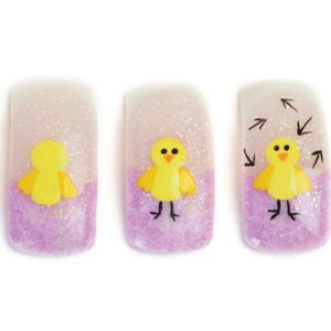 1. Form the free edge using purple acrylic and the remainder of the nail with a sheer, sparkly...