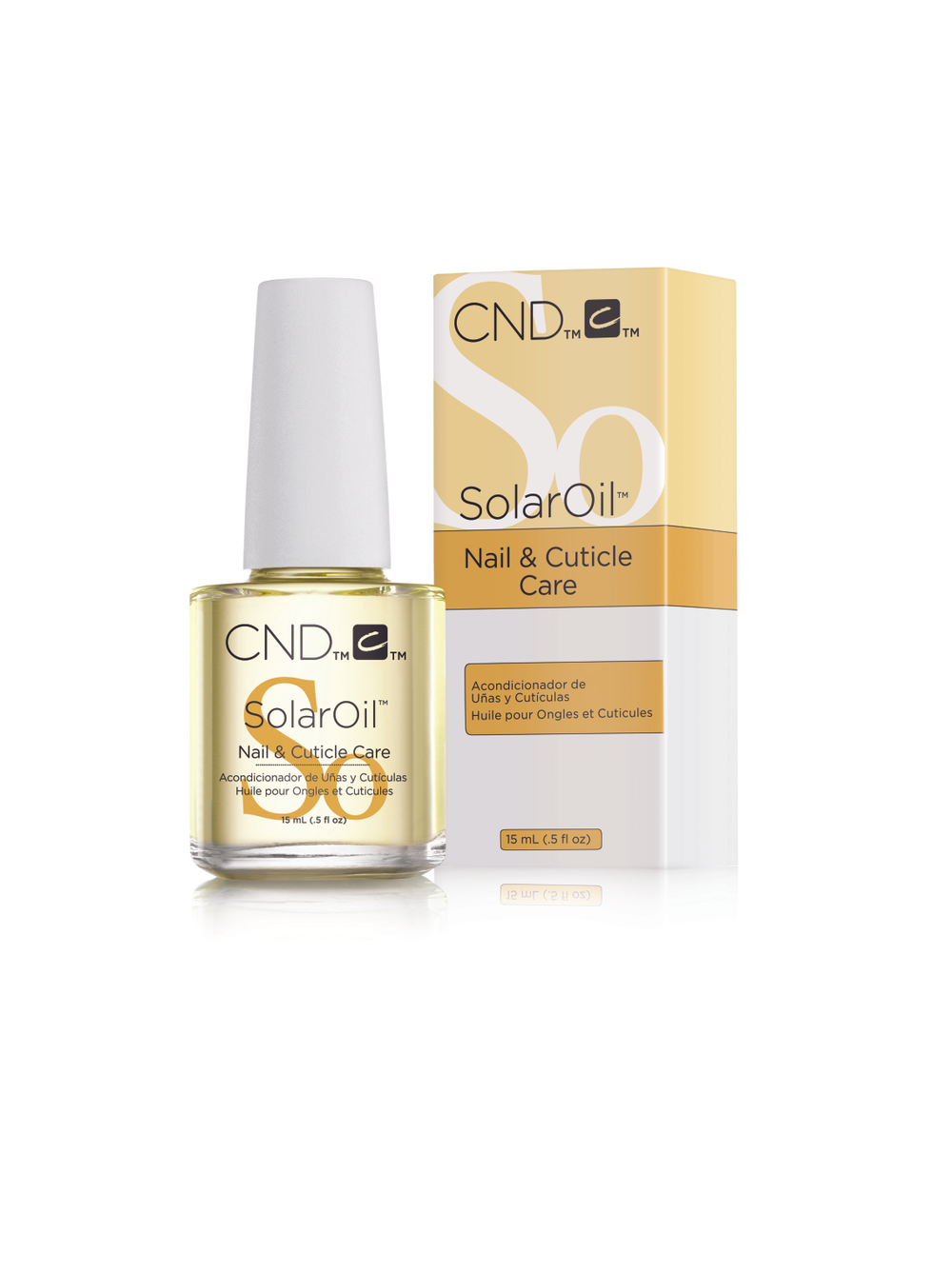 """<p>CND's SolarOil nail and cuticle oil is infused with jojoba oil and vitamin E and is designed to deeply penetrate and protect nails. Repeated use drives nutrients in deeper, creating stronger, healthier nails and hydrating the cuticle area. The oil can be used with any nail service. <br /><a href=""""http://www.cnd.com"""">www.cnd.com</a></p>"""