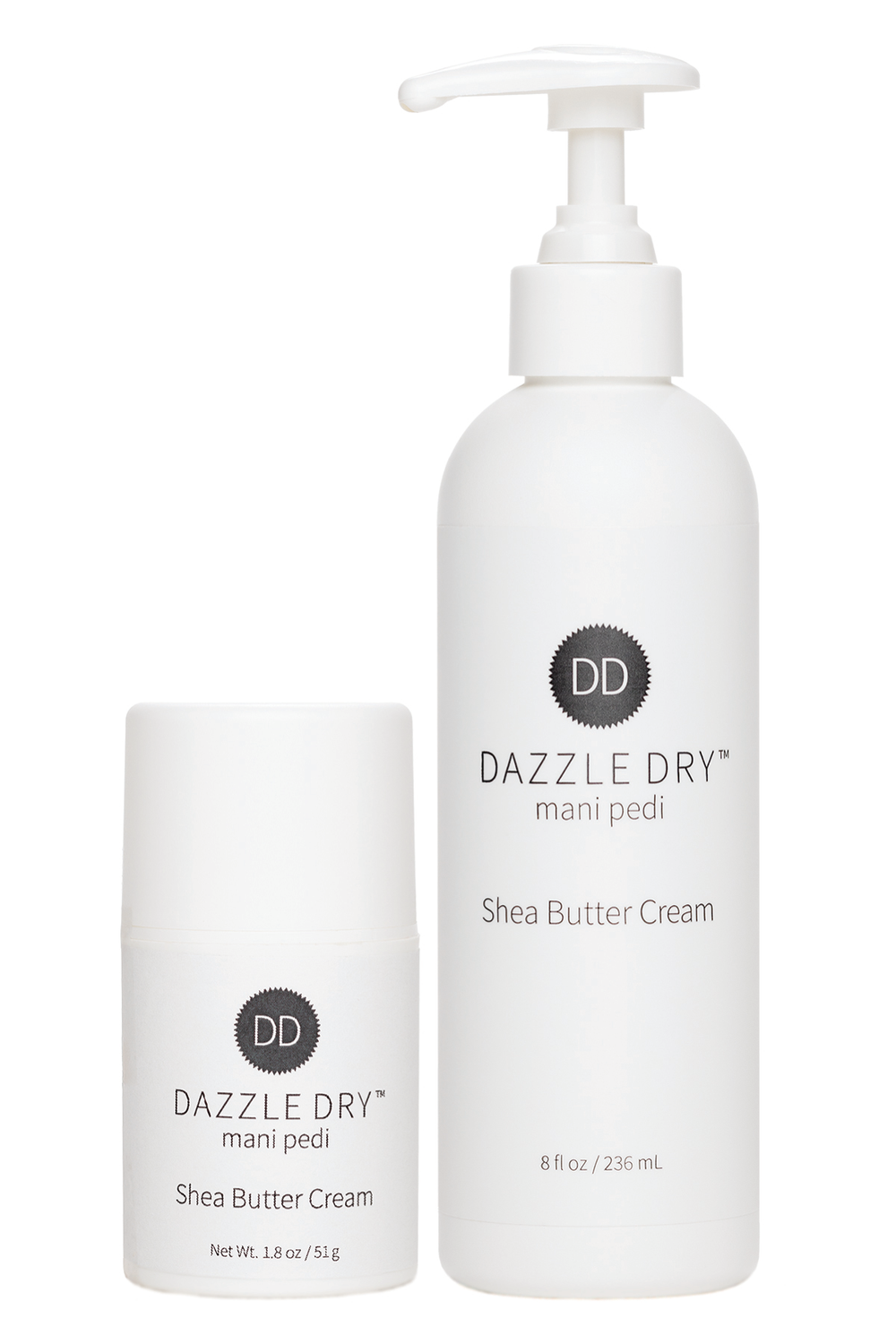 """<p>Dazzle Dry Mani Pedi Shea Butter Cream delivers 11 soothing and energizing essential oils along with green tea, marine extracts, urea, grape seed oil, and shea butter. It absorbs deeply to balance skin's optimal hydration levels. Non-greasy, with no parabens or harmful or reactive ingredients, it's safe for damaged or sensitive skin types.</p> <p><a href=""""http://www.dazzledry.com"""">www.dazzledry.com</a></p>"""