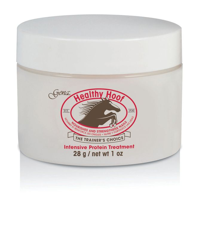 "<p>Gena Healthy Hoof Cream was originally used by horse trainers to strengthen hooves, Healthy Hoof Cream is proven to condition and strengthen natural nails. This intensive protein treatment moisturizes and conditions the natural nail bed and cuticles, nourishing the nail and encouraging growth and durability.<br /><a href=""http://www.genaspaproducts.com"">www.genaspaproducts.com</a></p>"
