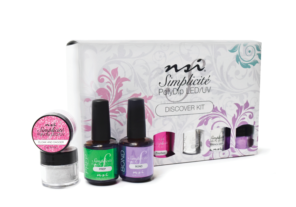 """<p>NSI's Simplicité PolyDip system uses poly-bonded oligomer technology for a light-cured system that allows a faster service and keeps clients' nails stronger and healthier. The odorless system can be used for natural nails and tip overlays. The formula bonds to the natural nail, absorbs the polymer, and, once cured, stays strong, durable, and flexible.<br /><a href=""""http://www.nsinails.com"""">www.nsinails.com</a></p>"""
