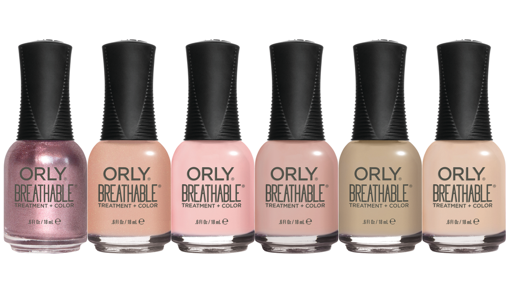 """<p>Orly's Breathable Treatment and <br />Color Nudes Collection featuresdynamic, trendy nude shades make taking care of your nails easy. Breathable colors offer the strength-boosting benefits of a nail treatment while allowing users to indulge in a longer-lasting manicure. The formula includes argan oil, vitamin B5, and vitamin C.<br /><a href=""""http://www.orlybeauty.com"""">www.orlybeauty.com</a></p>"""