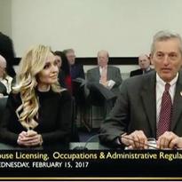 Jill Higginbotham and Representative Jerry Miller of Kentucky testifying before the Licensing...