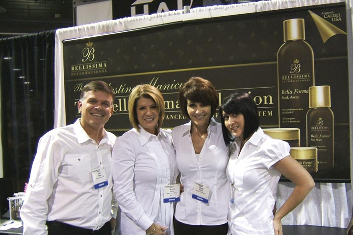 <p>The newly named Bellissima International had great energy at their booth. From left to right are John Hadley, Marnie Hadley, Debra Martin, and Joaquina Pedrasa.</p>