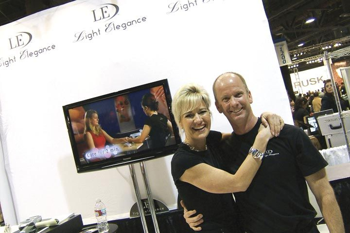 <p>Light Elegance&rsquo;s Lezlie and Jim McConnell were ecstatic about their show results, saying by the end they had sold out of many popular gel colors, including their new Glitter Gels.</p>