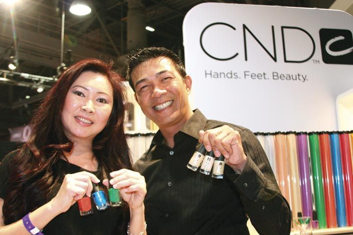 <p>Nail tech Christy Phan held the Colour while CND&rsquo;s Southern California sales consultant Kelvin St. Pham held the Effect in CND&rsquo;s Colour and Effects line.</p>