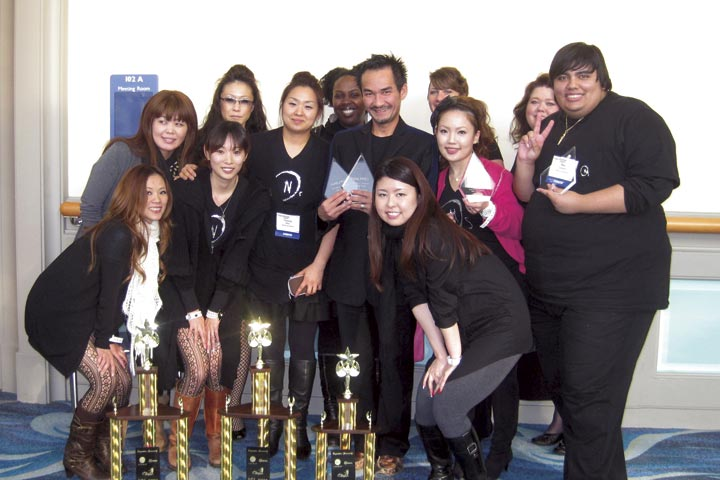 <p>Trang Nguyen (center) and his Odyssey Nail Systems&rsquo; competition team performed well at this year&rsquo;s competition. Nguyen, himself, took two seconds in the veteran category.</p>