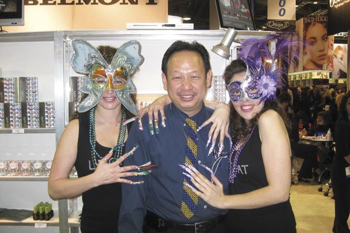 <p>Newton Luu, president of LeChat, was enthusiastic about the company&rsquo;s &ldquo;Mardi Gras&rdquo; trade show booth theme.</p>