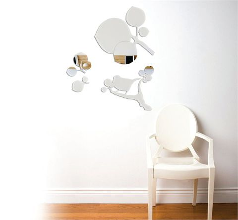 <p>Mirrors are a great way to open <br />up a space and make your salon seem bigger. Since full mirrors are not necessary for nails, consider fun shapes to <br />scatter and splatter along your walls. These mirrors from rosenberryrooms.com retail for $79 apiece. Though they are meant for children&rsquo;s rooms, you can definitely get away with mixing and matching the shapes to fit the design of your salon.</p>