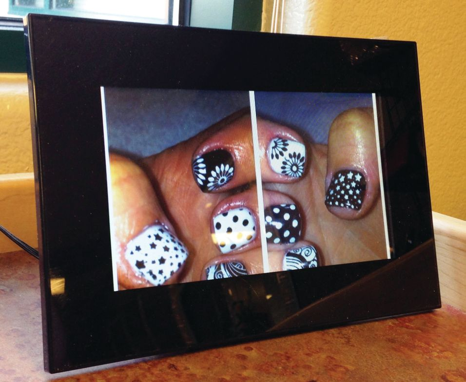 <p>We use digital photo frames at our desks to display our nail art. We just keep them running as a slideshow, and people can watch and get ideas as we are working on them. We also always take pictures of our nail art as we do it and keep it on our phones so we can show people our art at any time.<br />Kathy Dent, Salon Glow, Reno, Nev.</p>