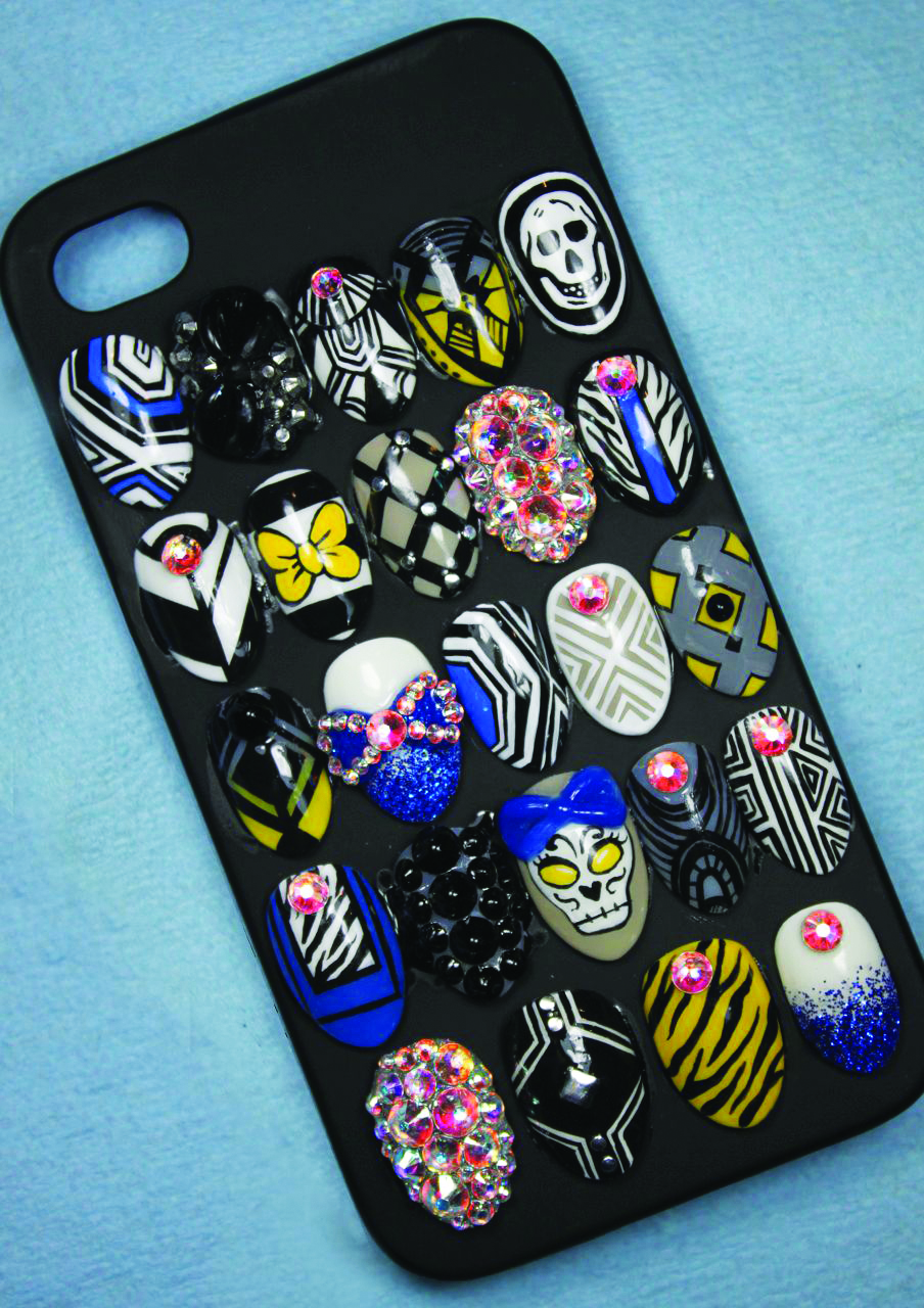 <p>I put my nails on phone cases and make them for different holidays and seasons. It&rsquo;s a great way to advertise outside of the salon as well because people are always asking to look at it while I&rsquo;m out. When I&rsquo;m done using them I put them on shelves to display in my salon!<br />Lexi Martone, Finger Painted, Dix Hills, N.Y.</p>