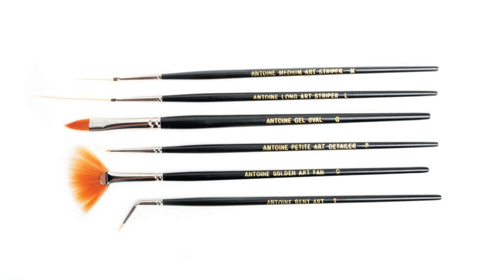 <p>A must for custom nail art, Antoine de Paris Professional Nail Art Brushes can make the most complex design a breeze. The set includes #G Gel Oval, #L Long Stripe, #M Medium Stripe, #O Fan, #P Petite Point, and #T Bent.</p>