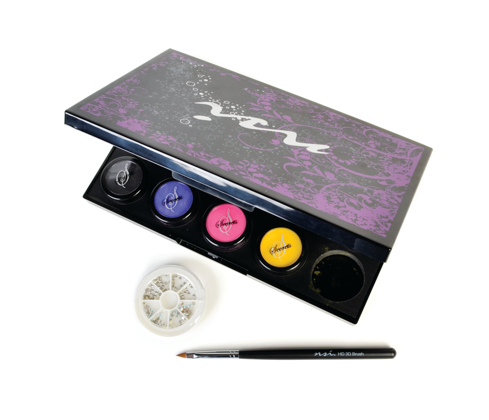 <p>NSI&rsquo;s Secrets Shades Collection includes a palette to help you organize your favorite colored acrylic powders, a 3-D brush to allow you to perfect flowers, leaves, and even bows, as well as real Swarovski crystals to add a little bling to designs.&nbsp;</p>