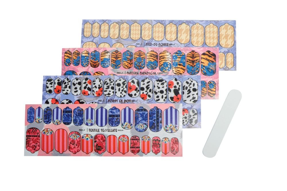 """<p>NCLA's self-adhesive nail wraps are easy to use and come in a pack of 26 nail wraps and a nail file. A variety of bright, bold designs are available. <a href=""""http://www.shopncla.com"""">www.shopncla.com</a></p>"""
