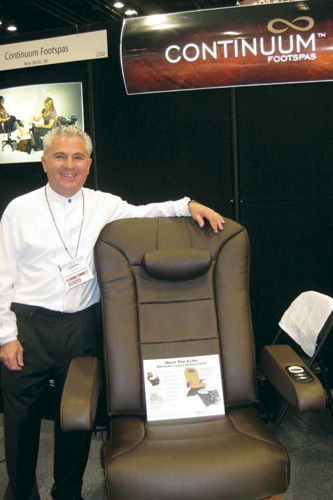 <p>Continuum Footspas CEO Joseph Galati stands by the company&rsquo;s Echo Pedicure Chair, a new mid-range option for salons who may not be able to afford the company&rsquo;s high-end Maestro Pedicure Spa.</p>