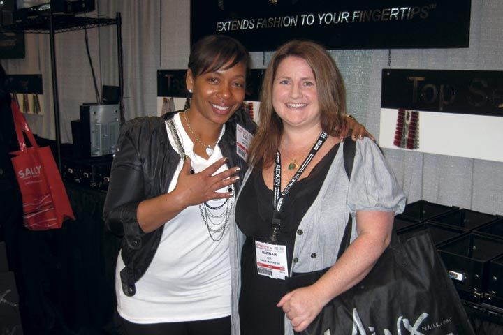 <p>Minx educator and east coast celebrity nail tech Lisa Logan (left) was not only working at the booth, she was also the educator for a Minx training session and party held Sunday after the show floor closed.</p>