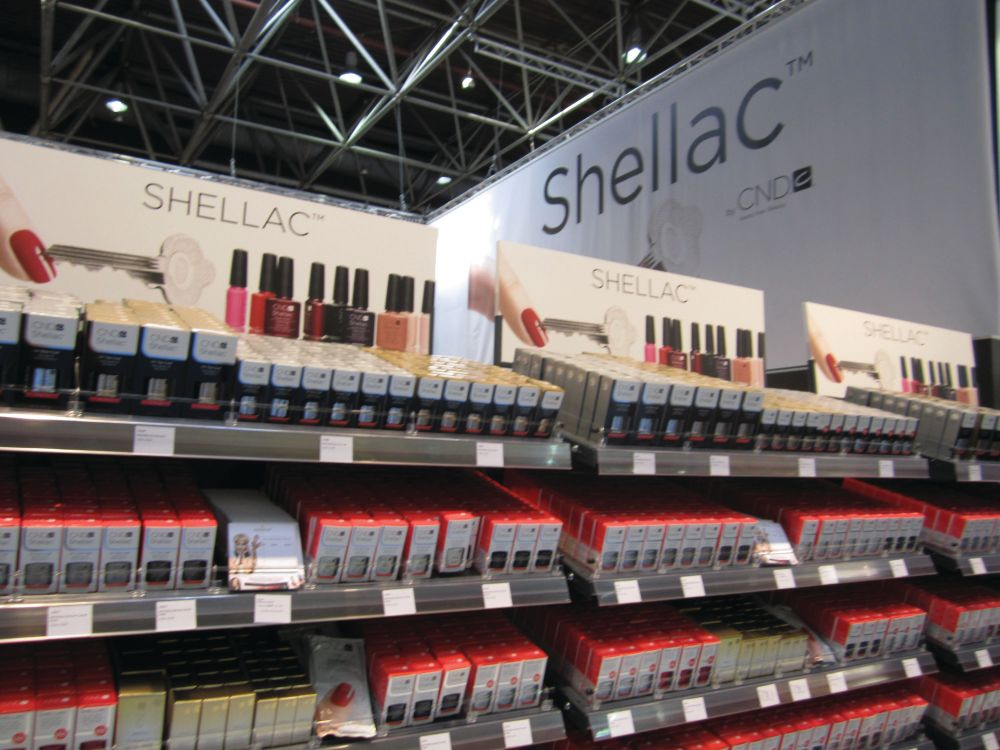 <p>CND had an impressive array of Shellac colors for sale.</p>