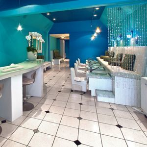 The 1,900-sq.-ft. salon, situated in Santa Barbara, Calif., features a nail bar for manicures,...