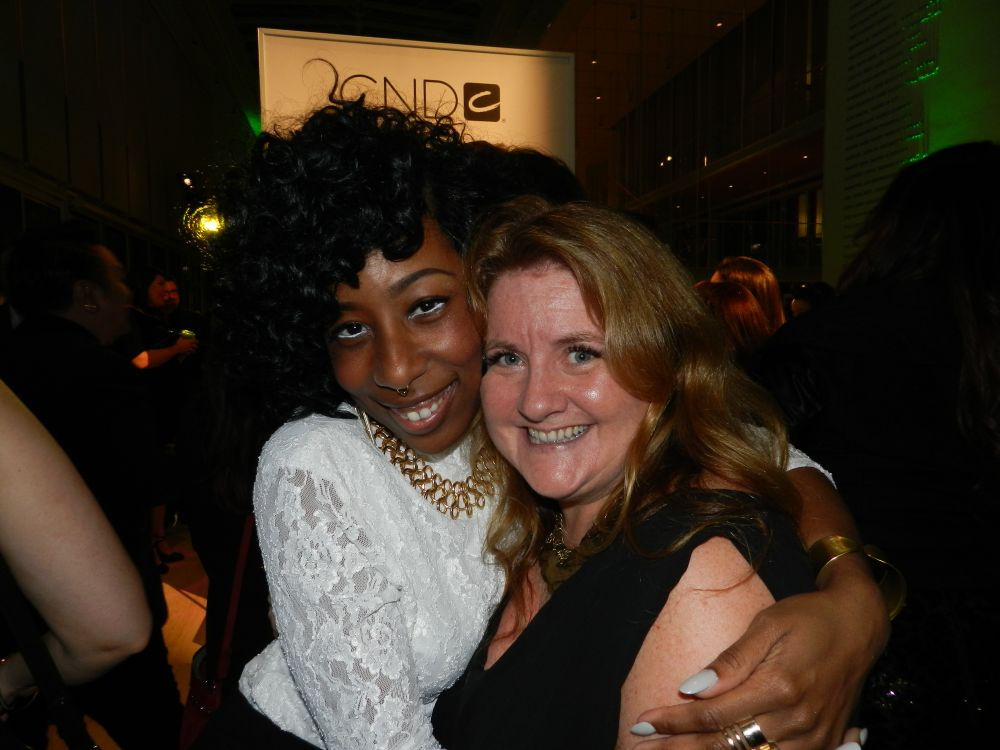 <p>NAILS editor Hannah Lee was excited to see NAILS Next Top Nail Artist winner Lavette Cephus.</p>