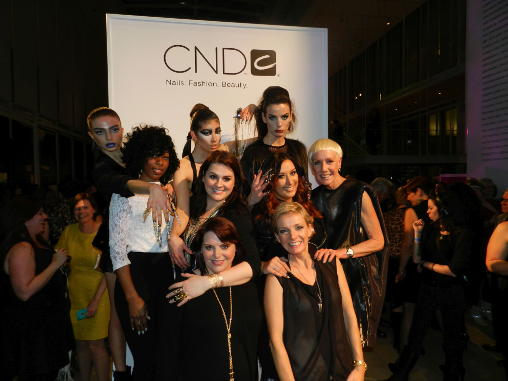 <p>NEXTGEN nail artists Lavette Cephus, Heather Davis, and Ashley Craig with their models and CND's Jan Arnold and mentors Shelena Robinson and Amanda Fontanarrosa.</p>
