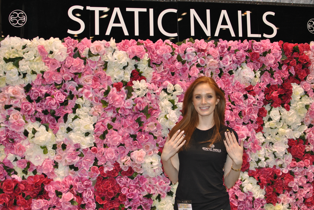 <p>Alexis Ginn, founder of Static Nails, sported a blingy set of the reusable nails at her booth.</p>
