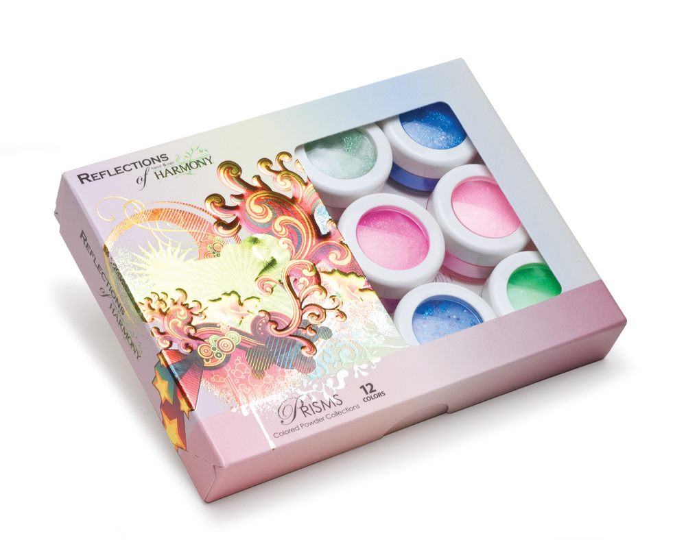 "<p>ProHesion Prism Collection: <br />Comprised of holographic films, accent mylar, and reflective crushed shells, the Prism collection creates mesmerizing nail designs. <br /><a href=""http://www.prohesion.com"">www.prohesion.com</a></p>"
