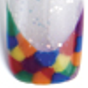 Apply a translucent color (like CND Iridescent Glitter Powder) to the bottom of the tip. Apply...