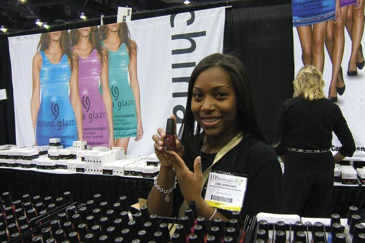 <p>Erin Johnson shows off China Glaze&rsquo;s most popular color, Ruby Pumps. &ldquo;It&rsquo;s definitely the one that moves the most at the shows,&rdquo; she said.</p>