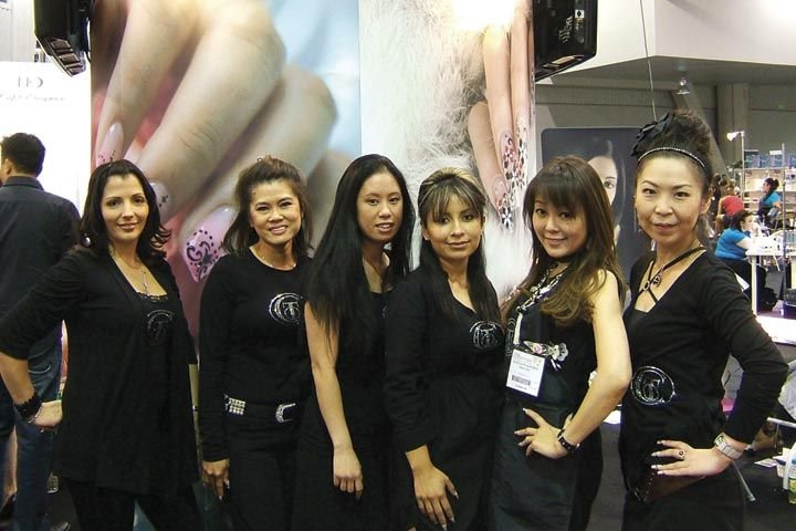 <p>The Christrio booth was fully staffed with educators. From left to right: sales representative Sumer Moulton, and educators Lee Thai, Myanh Vo, Maria Sandaval, Kazuyo Wakisaka, and Yukiyo Fukuda.</p>