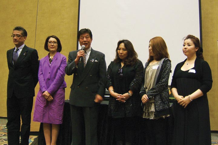 <p>Some top members of the Japanese Nailist Association (JNA) hosted a cocktail event to show their appreciation of the American nail industry. The JNA organizes competitions in Japan and brings many of its competitors to shows around the world. From left to right: Yoshio Mizuno, Keiko Miyajma, Masahide Takigawa, Yayoi Ogasawara, Kaori Nakai, and Chika Ihara.</p>