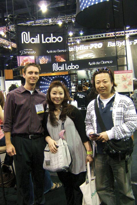 <p>At the Nail Labo booth, NAILS associate editor Tim Crowley met Japanese nail artist Chika Ihara and her hand model Isao Igarashi. Ihara is currently ranked #1 in Japan and won first place in the Veteran Mirror Image category at the show.</p>
