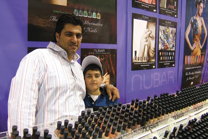 <p>Noubar Abrahamian worked the booth with his son Harry (who was up-to-date on dad&rsquo;s newest products, mentioning Nubar&rsquo;s new Black Tie Affair Nail Art pack).</p>