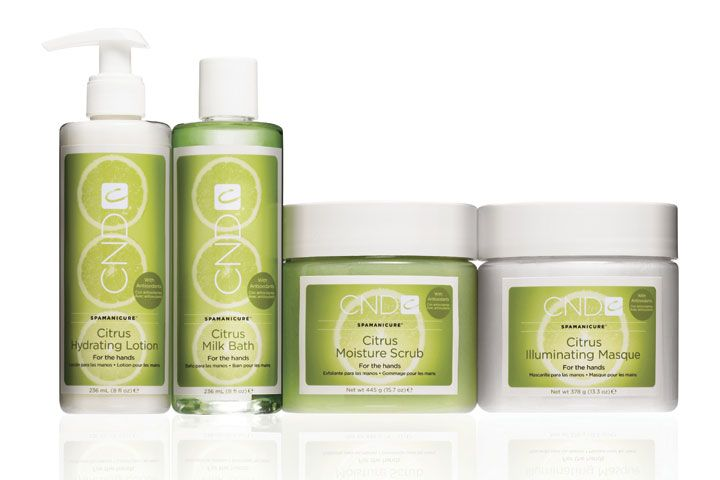 """<p><a href=""""http://www.cnd.com/"""">CND&rsquo;s</a> Citrus SpaManicure System awakens the senses with lemongrass, orange, grapefruit, and lime essential oils and enlivens skin with antioxidants derived from grapeseed oil. Nail professionals can now indulge their clients with a manicure service that excites, energizes, and refreshes. The system includes Citrus Milk Bath, Moisture Scrub, Illuminating Masque, Hydrating Lotion, and Soothing Cr&egrave;me.<br /><br /></p>"""