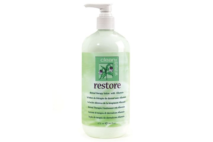 """<p>Pamper hands with <a href=""""http://www.cleanandeasyspa.com"""">Clean + Easy&rsquo;s</a> Restore Dermal Therapy Lotion. The squalene, Shea butter, and aloe vera formula soothes, heals, and protects skin &mdash; perfect for post-hair removal on hands or after a luxurious paraffin dip.<br /><br /></p>"""